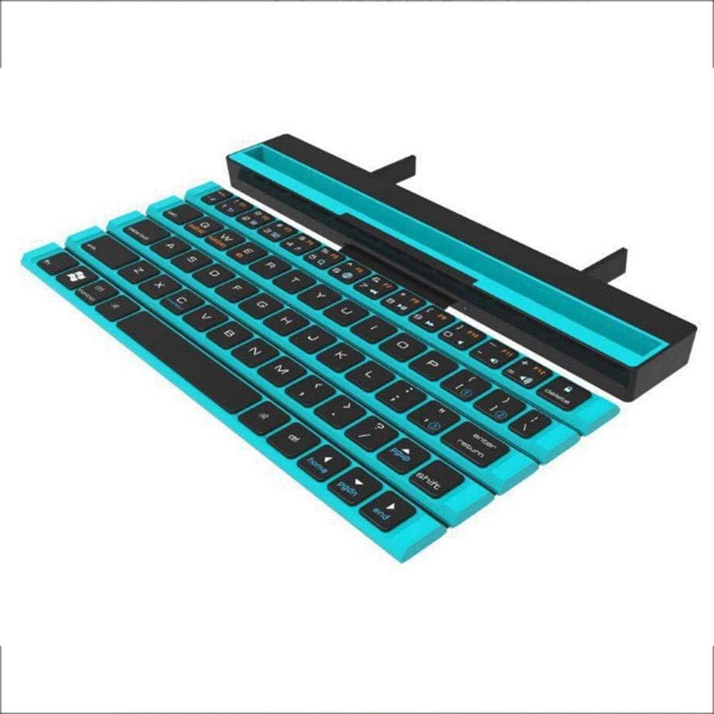 XUNERDA Teclado inalámbrico Bluetooth Wise for teléfonos fluidos Android Teclado Plegable portátil Totalmente Plano (Color : Blue)