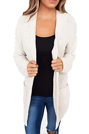 Gobought Womens Long Sleeve Open Front Knit Long Cardigans Sweater with  Pockets Fall 252e08152