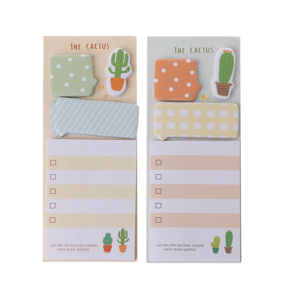 JUNESUN 2Pcs Cute Cactus Sticky Note Office Supplies Bookmark Paper Scrapbooking Sticker