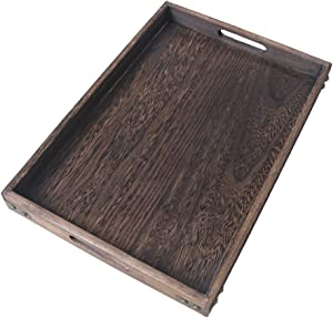 """HillSpring 16"""" Rustic Wooden Serving Tray with Handles, Durable and Light Paulownia Nesting Tray Wood"""
