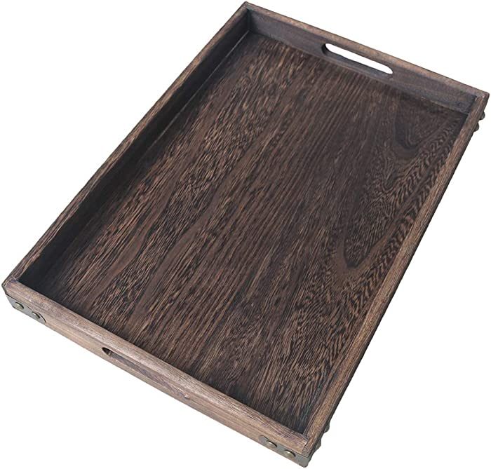 "HillSpring 16"" Rustic Wooden Serving Tray with Handles, Durable and Light Paulownia Nesting Tray Wood"