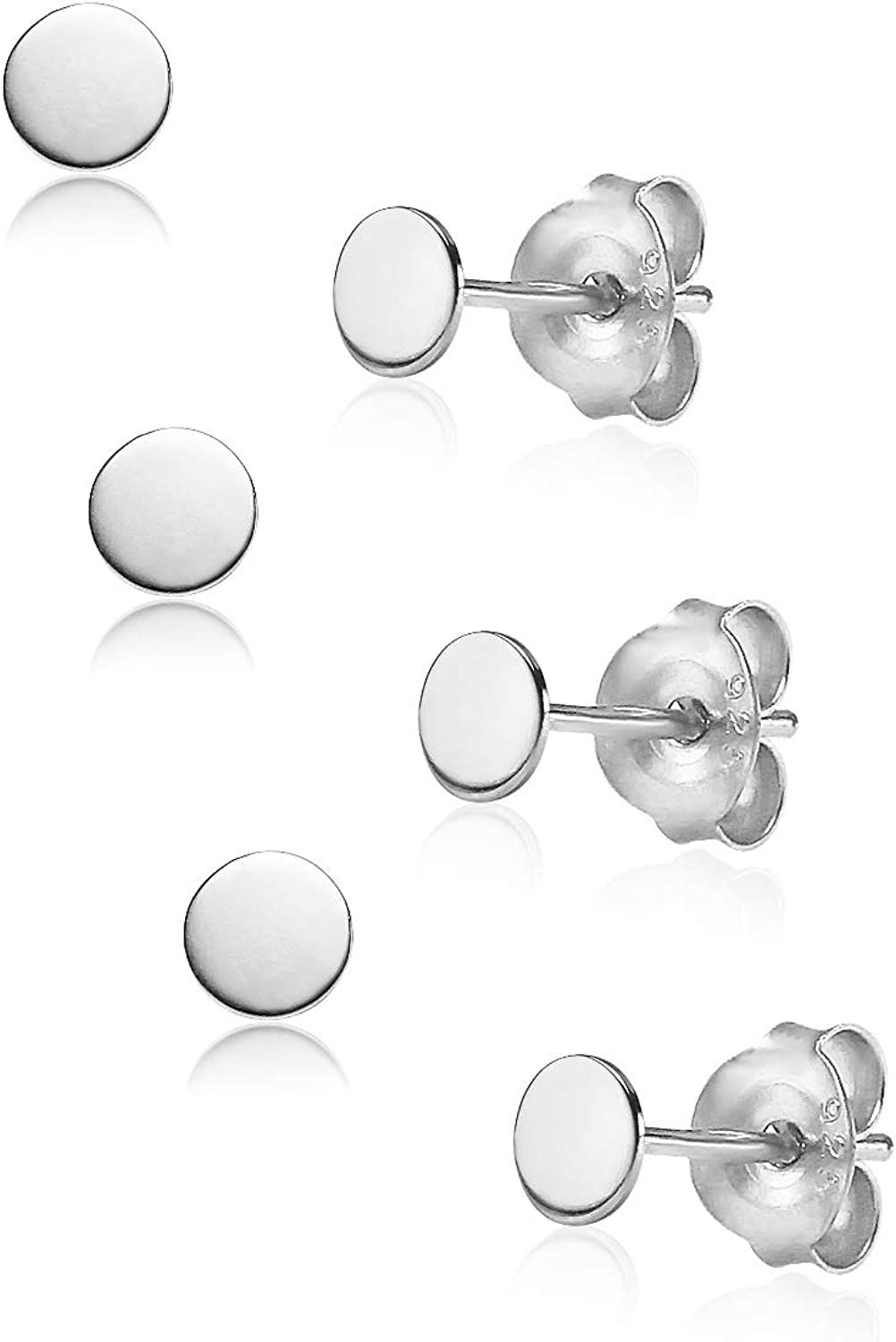 Big Apple Hoops - High Polished Sterling Silver 3 Pairs Set Pack of 3mm or 3, 4, 5mm Plain Round Flat Stud Earrings Made from Real 925 Sterling Silver in 4 Color Silver, Rose, Gold, Black