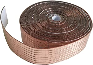 Rose Gold Roll Self-Adhesive Real Glass Craft Mini Square Round Mirrors Mosaic Tiles for DIY Crafts,Ball,Home Decor (2.5M Length)