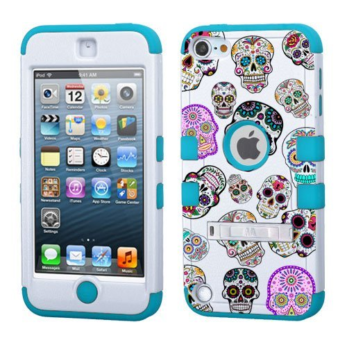 PHONETATOOS iPod Touch 5th 6th Generation Case - Hard Shell Case Compatible with Apple - Shockproof Hybrid 5/6 Cover with Stand for Boys and Girls (Sugar Skull) (Skull 5th Generation Ipod Cases)