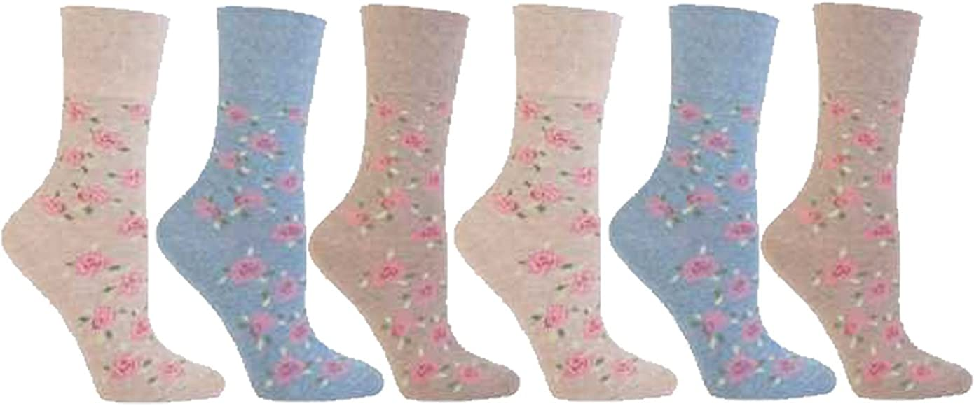 SIZE 4-8 VARIOUS DESIGNS 3//6 or 12 PAIRS LADIES PATTERNED GENTLE GRIP SOCKS