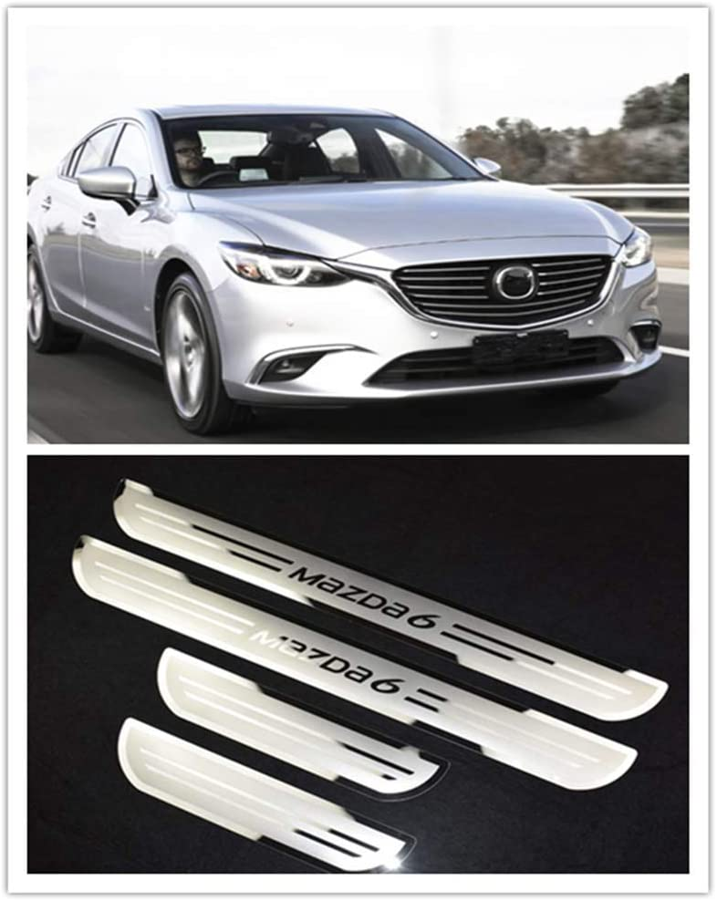 For Mazda 6 Accessories 2015-2018 Steel Door Sill Scuff Plate Door Protector Cover Trim 4pcs