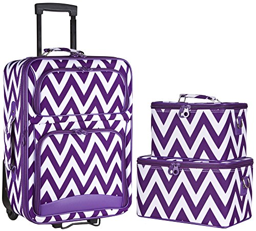 Ever Moda Chevron 3-Piece Carry On Luggage Set