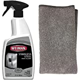 Weiman Stainless Steel Cleaner and Polish 22 Fluid Ounces - Microfiber Cloth - Appliance Surfaces Leave Behind A Brilliant Shine