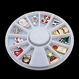 Minejin 3D Cute Nail Art Snowflakes Christmas Alloy Rhinestone Dress DIY Glitter Jewelry Tips Charms Decorations 4 Wheels