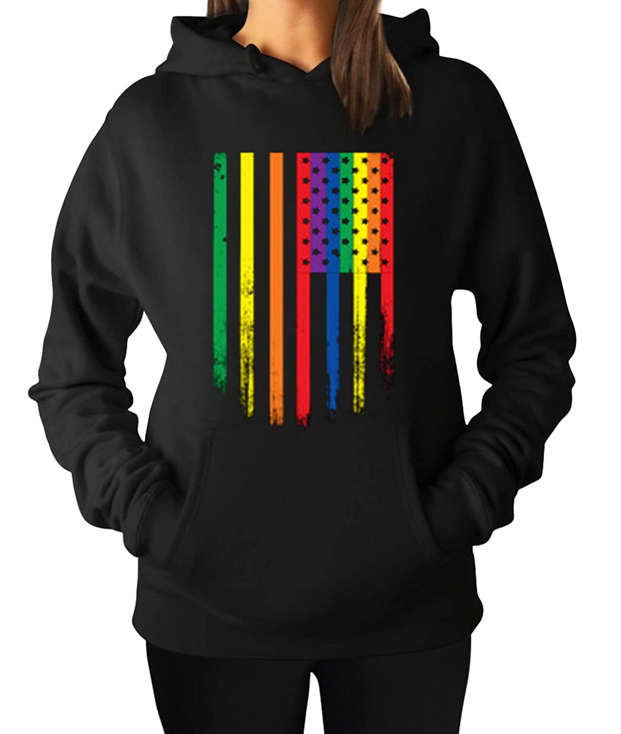 new Women s Gay Pride Flag Vintage Distressed Gay Rights LGBT Hoodie Hooded  Sweater 83b11a146b