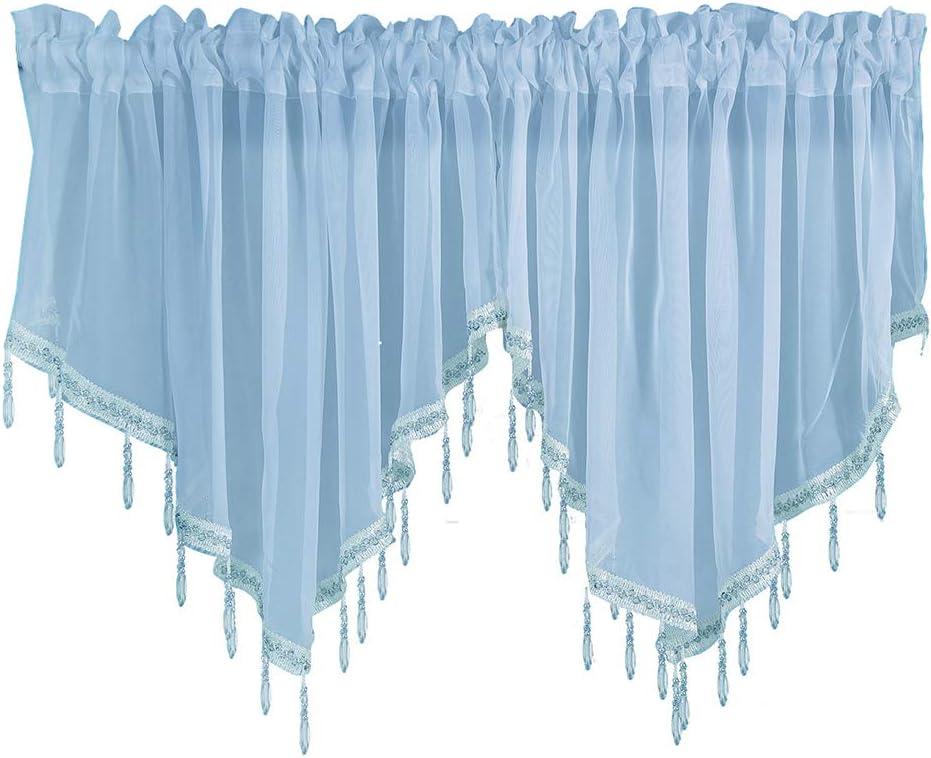 JAIJY Sheer Beaded Ascot Semi Voile Solid Vintage Valances Rod Pocket Curtains Drapes Windows Treatment Curtain for Small Window Garden Bedroom Kitchen Cafe Farmhouse, 2 Panels, Blue