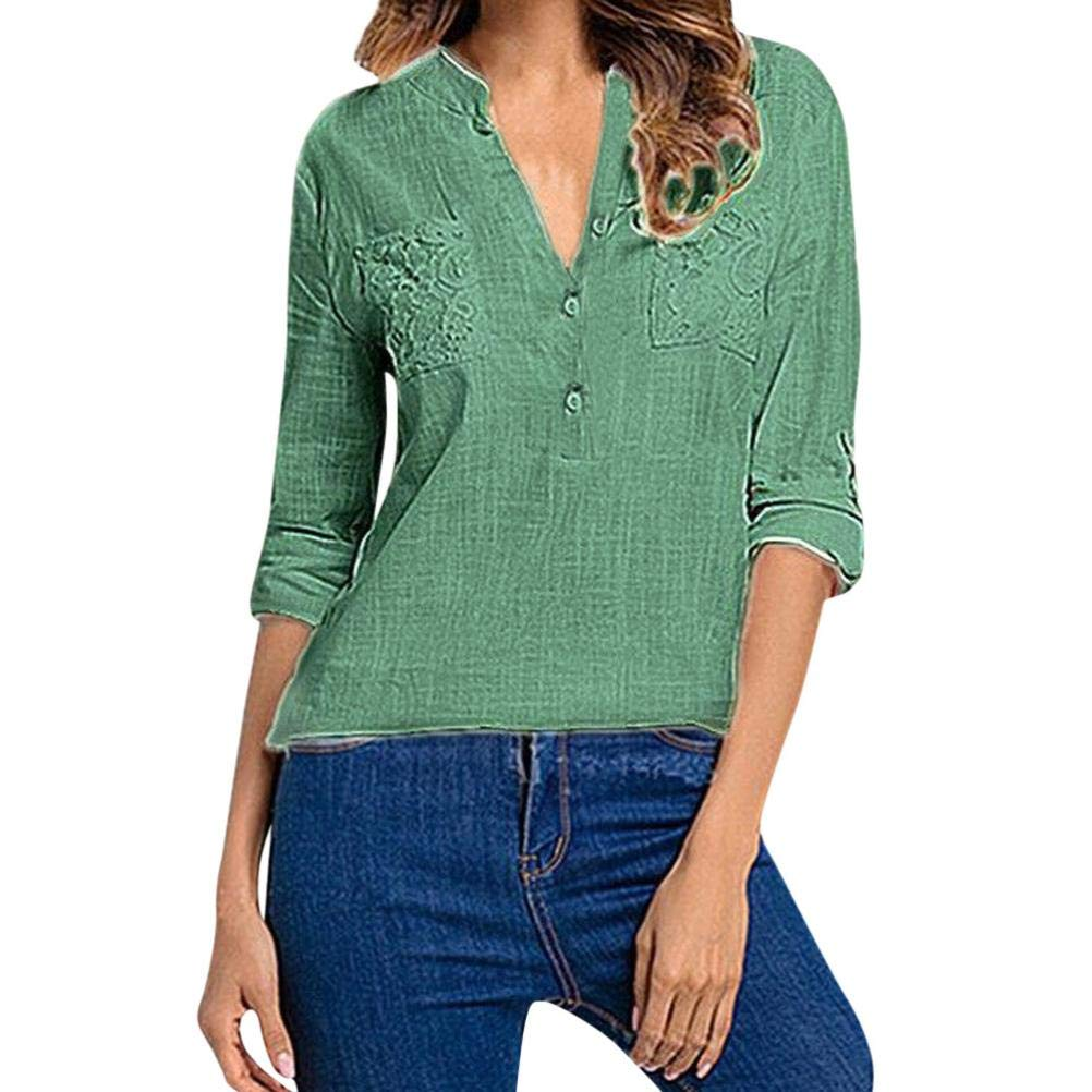 Orangeskycn Clearance Sale Women's Solid Long Sleeve V-Neck Casual Shirt Top with Pocket