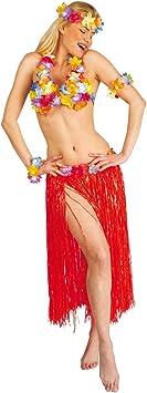 Disfraz hawaiano Falda hawaiana en rojo: Amazon.es: Juguetes y ...