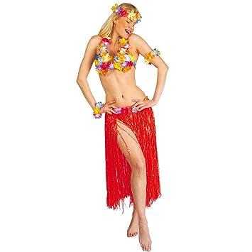 Disfraz hawaiano Falda hawaiana en rojo: Amazon.es: Juguetes y juegos