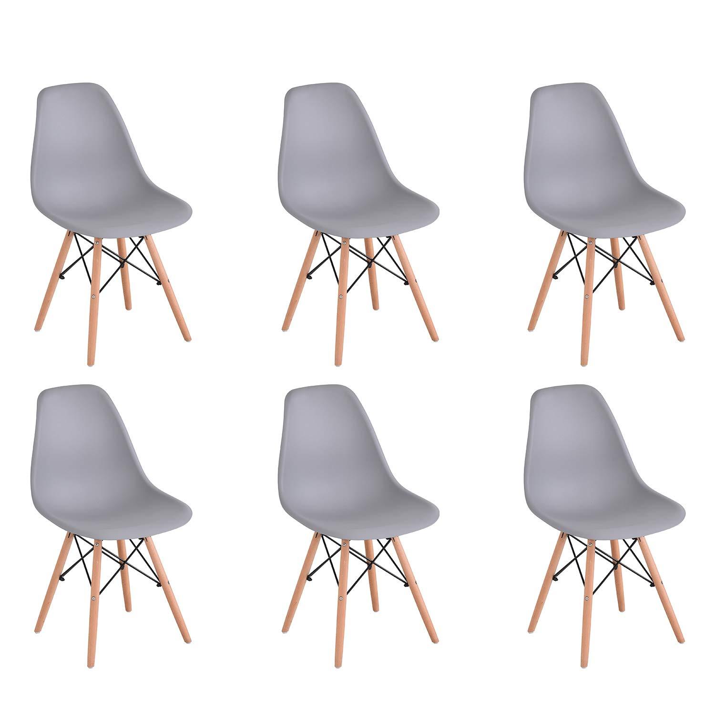 KunstDesign Set di 4 Sedie da Pranzo con Seduta in Polipropilene e Gambe in Legno Massello di Faggio Design Ergonomico Nero