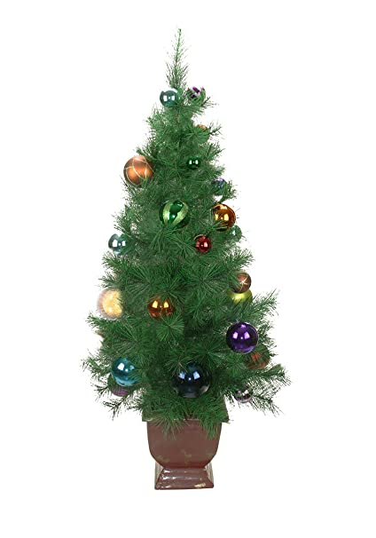northlight unlit potted pre decorated multicolored ball ornament artificial christmas tree 4