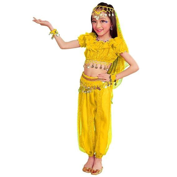 KINDOYO 5 Piezas Traje de Danza del Vientre Indio para niñas ...