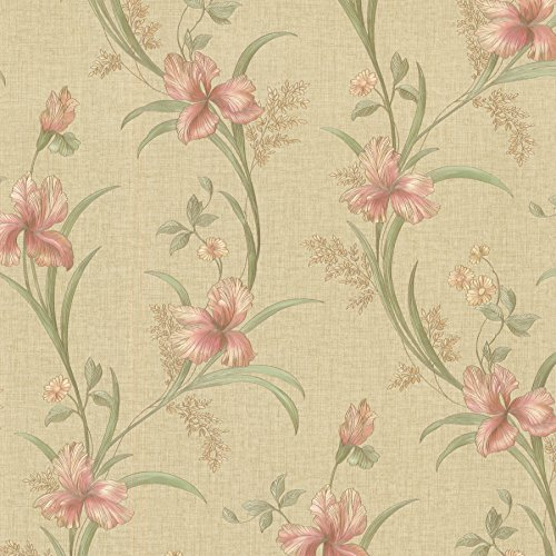 Brewster 2532-20466 Misty  Lily Trail Wallpaper, -