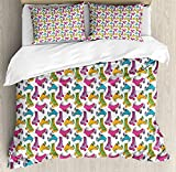 Twin XL Extra Long Bedding Set, Teen Room Decor Duvet Cover Set, Retro Colorful Roller Skates in Vivid Tones Girls Sports Hobby Illustration, Include 1 Flat Sheet 1 Duvet Cover and 2 Pillow Cases