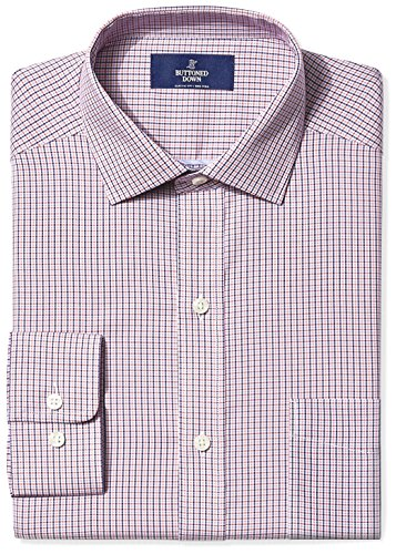 BUTTONED DOWN Men's Classic Fit Spread-Collar Non-Iron Dress Shirt, Berry/Red/Navy Tattersall Micro Check, 17