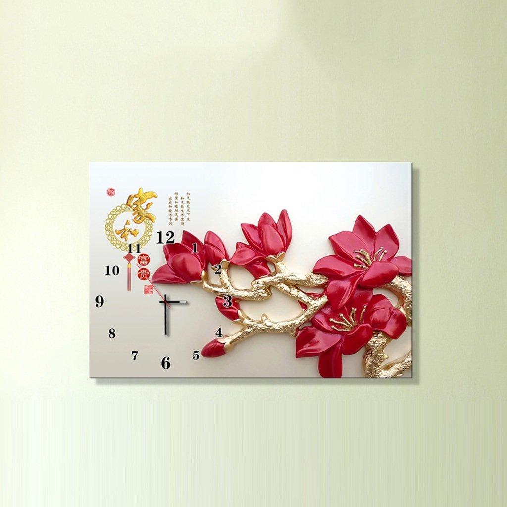 3Dアートサイレント防水絵画壁時計装飾的な背景クリエイティブアートマイクロフレームクリスタルクロックトリプルハンギング絵画の水平バージョン居間 (サイズ さいず : 50*60 cm) B07D8S9FWM50*60 cm