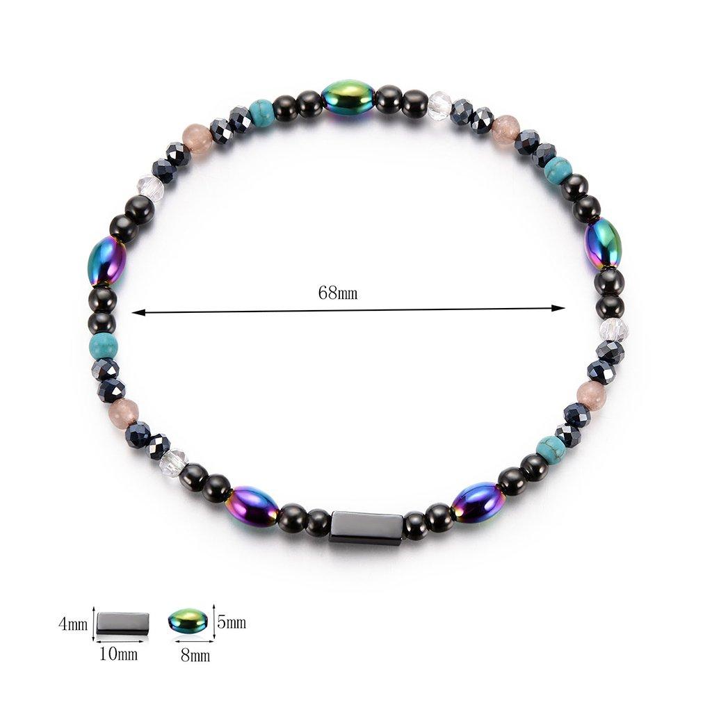 Bracelet de cheville en pierre dh/ématite de cheville de bracelet de sant/é de cheville de bijoux de perte de poids de sant/é de Qianber