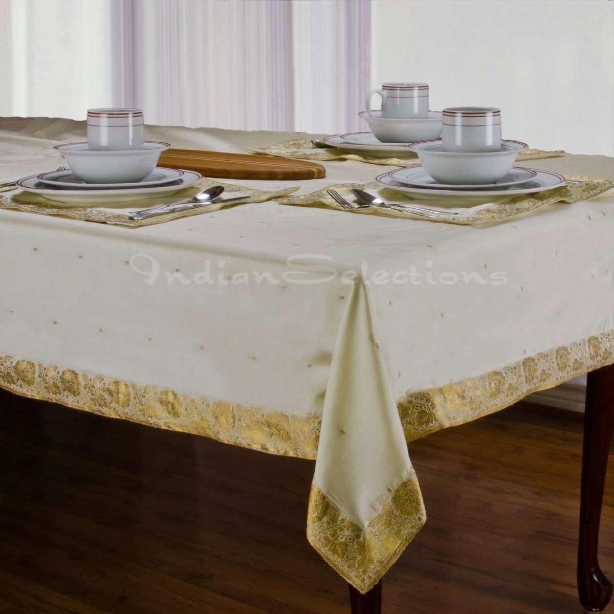 Cream - Handmade Sari Oblong Tablecloth (India) - 60 x 144'' with 10 Napkins