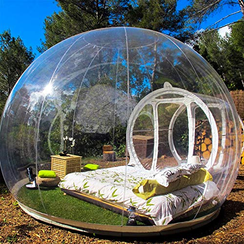Happybuy Outdoor Single Tunnel Bubble Tent Transparent 197″X118″ Inflatable Bubble Tent 0.24″ PVC Transparent Inflatable Camping Tent 110V with Blower for Family Camping Backyard