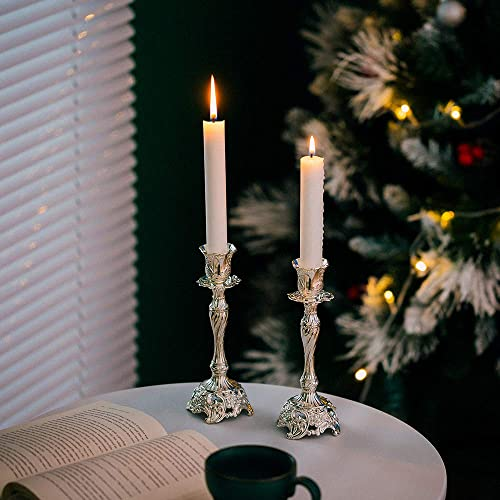 Sziqiqi Silver Plated Candlestick Holders Set of 2 Taper Candle Holders Deluxe Ornate Candle Holders