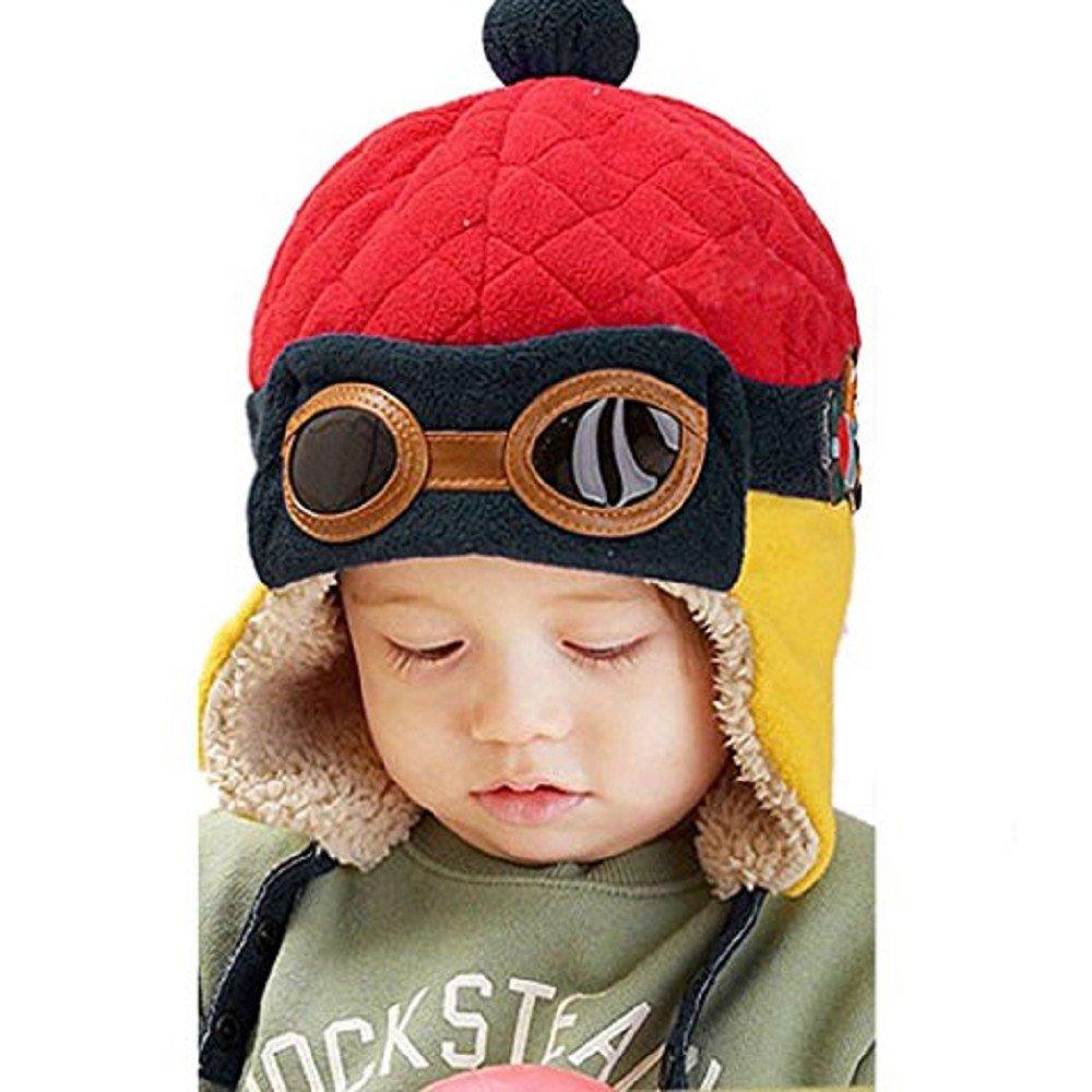 c874eec2b3a Rcool Boys Winter Warm Cap Hat Toddlers Kids Infant Hat Beanie Pilot  Aviator Crochet Earflap Hats (Blue)  Amazon.co.uk  Clothing