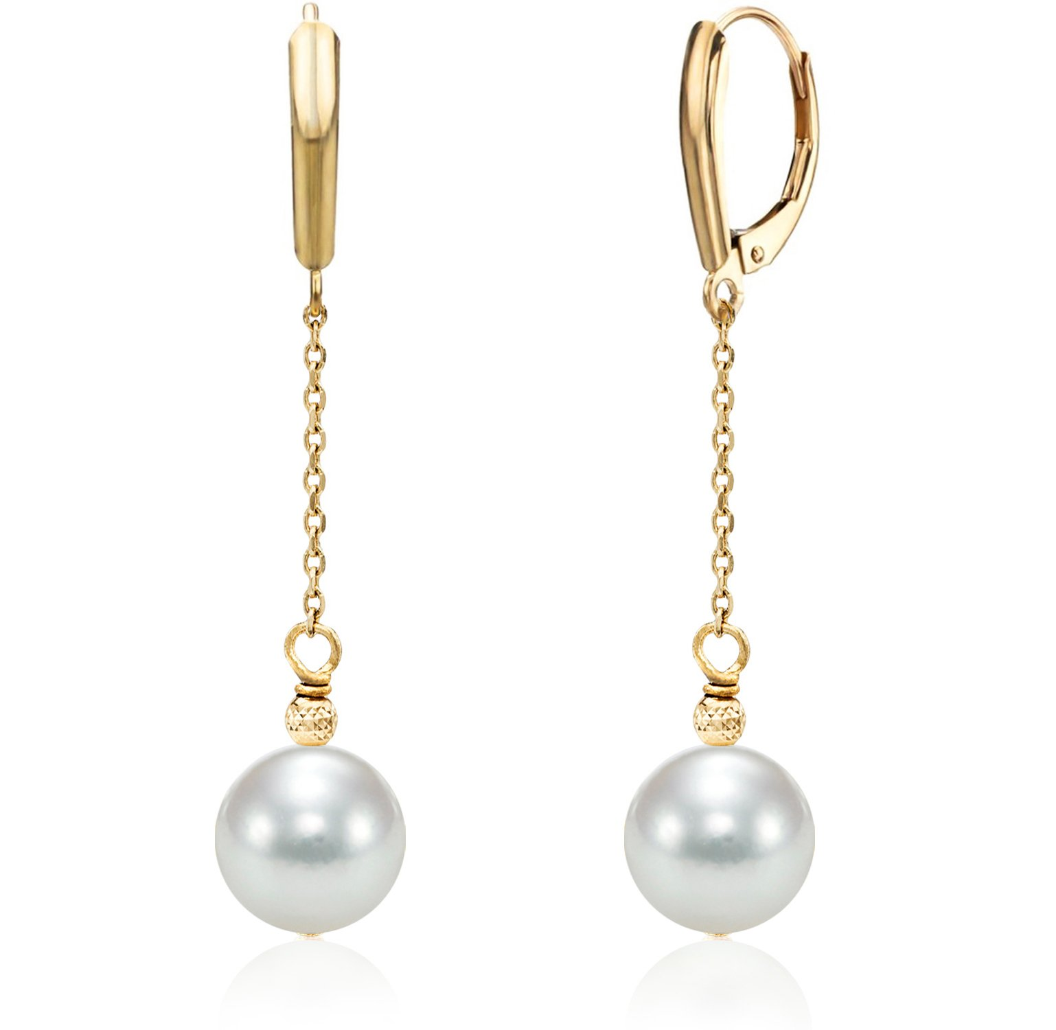 14K Yellow Gold Chain White Japanese Akoya Cultured Pearl Leverback Dangle Earrings 8-8.5mm