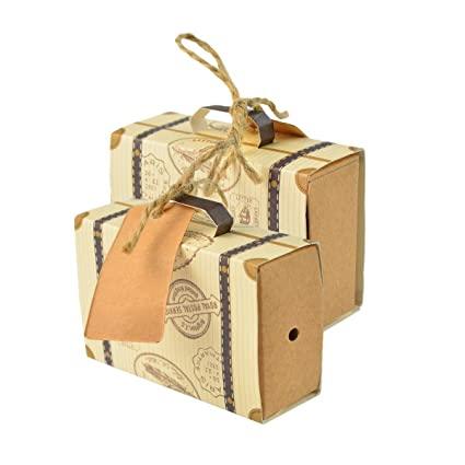 cnomg - 50 Cajas para Dulces con diseño de Viaje, Cajas de Regalo con 50
