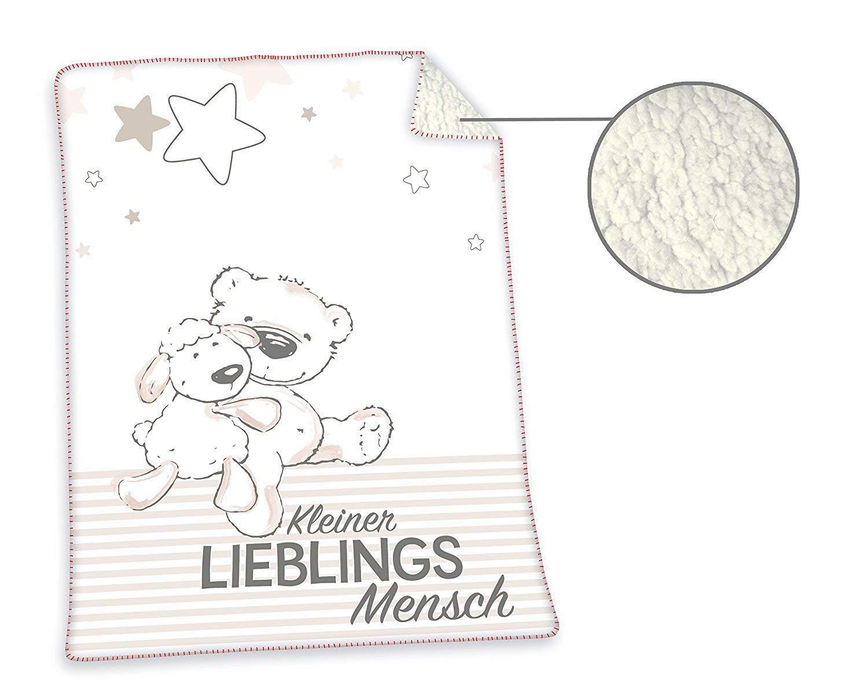 100 x 75 cm Wei/ß Polyester Herding Jonas Lieblingsmensch Soft-Plush-Decke