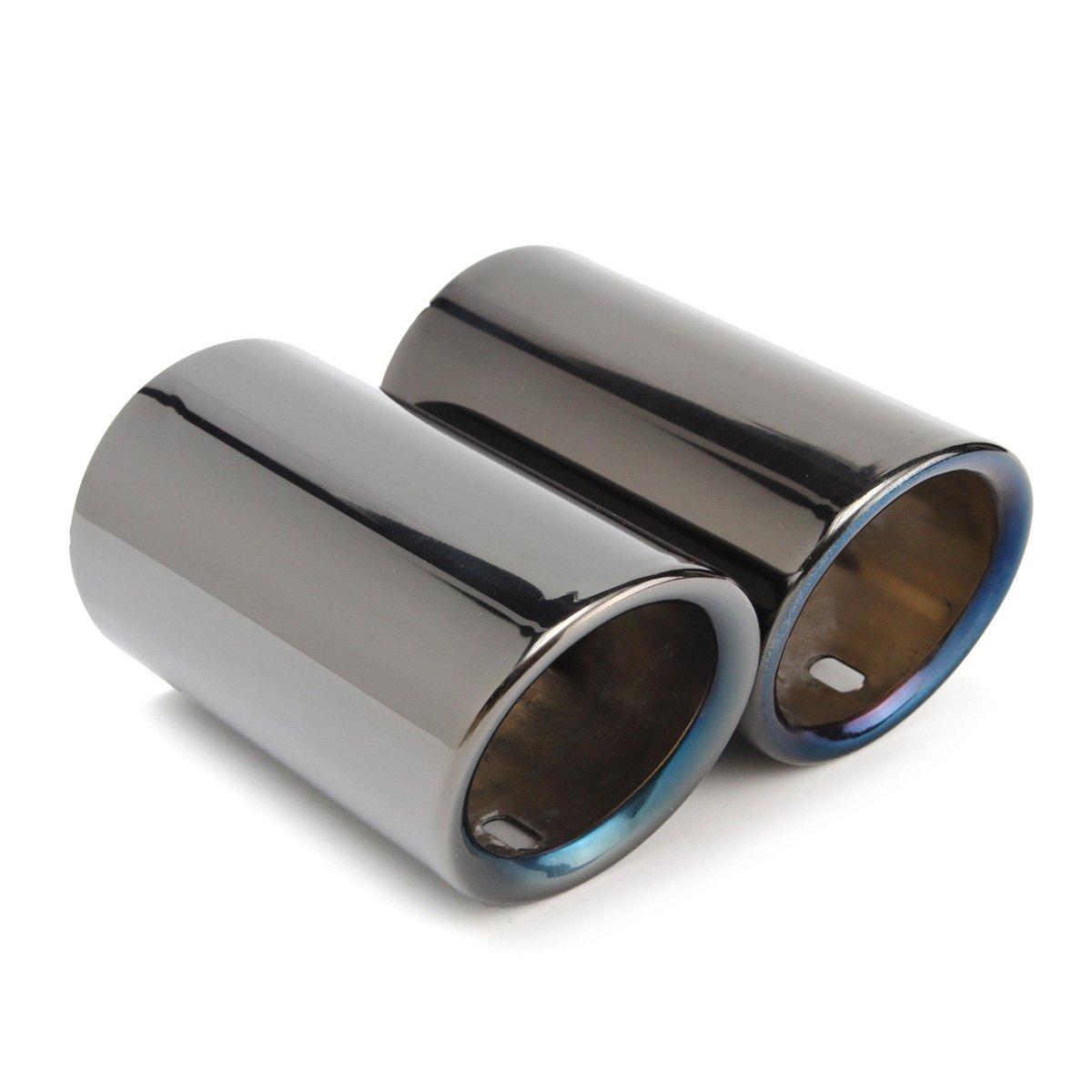 FidgetKute 2pcs Titanium Black Muffler Exhaust Tail Pipe Tip for BMW E90 E92 325 325i 328i