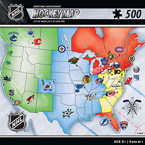 MasterPieces NHL Sports Map Jigsaw Puzzle, 500-Piece