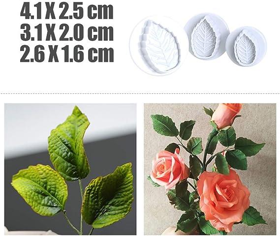 6x Fondant Cake Cutter Plunger Cookie Mold Sugarcraft Rose Flower Decor Mold Tre