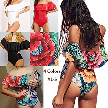 cce592608d Image Unavailable. Image not available for. Color  Wyhui Sexy Floral Off  Shoulder Swim Wear Lady High Cut Bathing Suit Ruffle Plus ...
