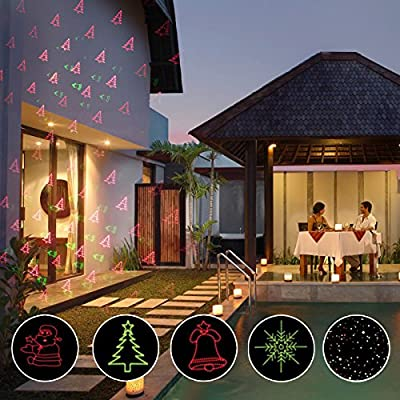 Christmas Laser Lights, Red & Green LED Projector, RF Wireless Remote Control, 5 Light Patterns, Outdoor and Indoor IP65 Waterproof Spotlight for Party, House, Landscape, Holiday, Garden Decoration