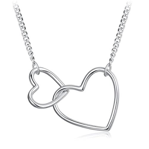 b1a360a21 Image Unavailable. Image not available for. Color: HUIMEI Sterling Silver  Small and Big Heart Interlocking Pendant Necklace