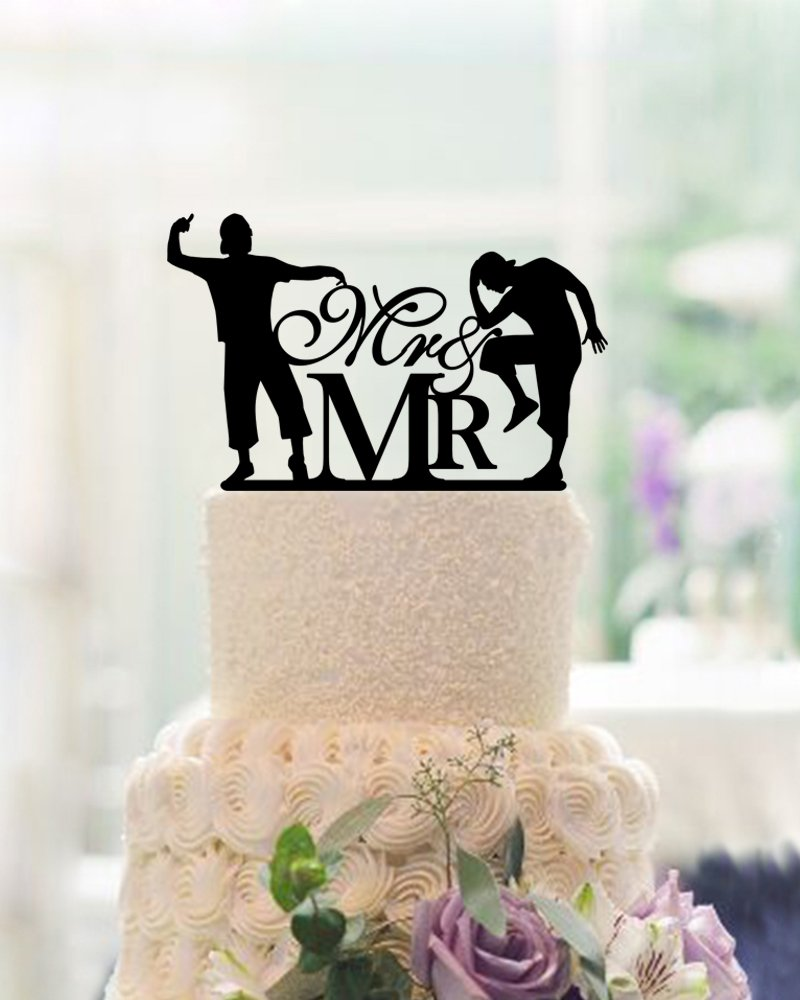 Amazon Com Funny Wedding Cake Toppers 2 Grooms Mr And Mrs Same Sex