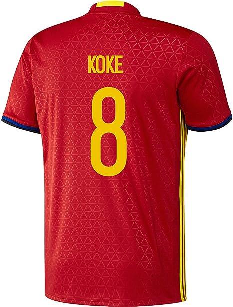 adidas Koke # 8 España fútbol Camiseta de equipación de la UEFA Euro 2016 (CASA) (US Size S): Amazon.es: Deportes y aire libre