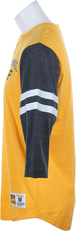 MLB 3//4 Sleeve Henley Shirt Mitchell /& Ness Pittsburgh Pirates Home Stretch T-Shirt