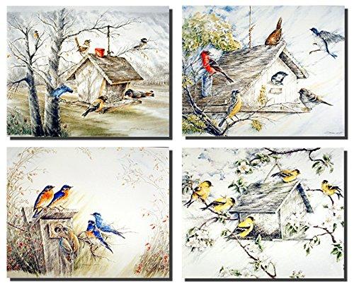 Gold Finches Birds Bluebirds Birdhouse 8x10 4 Set Wall Decor Art Print Posters