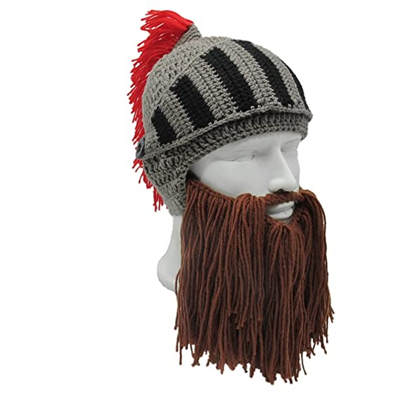 ZGZY Beard Hat Beanie Knit Hat Barbarian Warrior Knight Hat Halloween Viking  Rome Bearded Caps Windproof 44280e5828