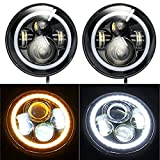 "Pair of 7"" Halo Angel Eye 90W Round Cree Led HEADLIGHT DRL High Low Beam Amber Turn Signal for Harley Davidsion Motorcycle LJ Tj Fj Cruiser Hummer Land Rover defender Mercesdes Benz G"