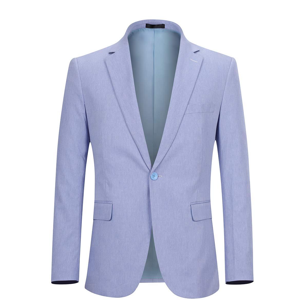 Sliktaa Mens Casual Blazer Suit Jacket Slim Fit Business Wedding Suit Blazer Notched Lapel Single Breast One Button 6 Colors