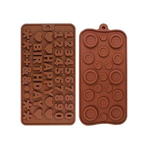 Weien New Silicona Bombones Formas 2 conjuntos de plantillas letras y números molde para chocolate,