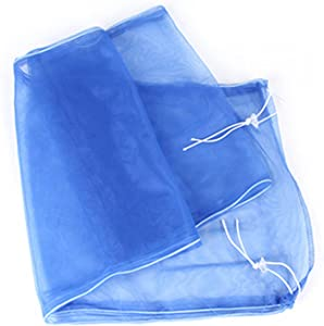 Adjustable Airy Gauze Bird Cage Seed Catcher, Seeds Guard Dust-Proof Universal Birdcage Accessories Parrot Bird Nylon Mesh Net Cover Stretchy Shell Skirt Traps Cage Basket Soft (Blue)