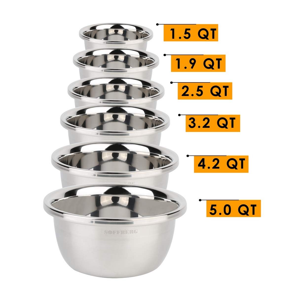 Set of 6 Mixing Bowls Stainless Steel Nesting and Convenient Storage for Meal prep, Salad, Cooking, Baking, Serving by SOFFBERG (Image #2)