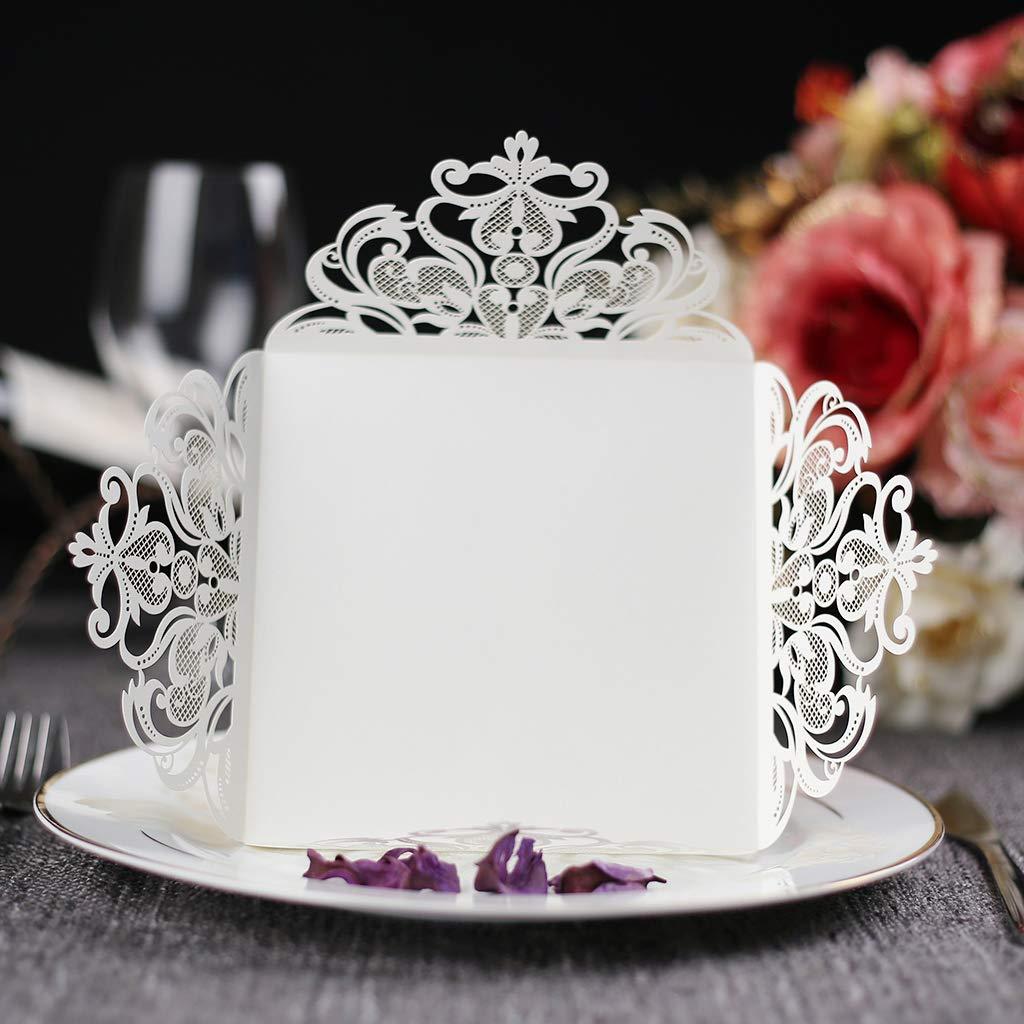 Compleanno CYSKY Invito con Pizzo laserato 50PCS Confezione invito Quadrato Vuoto con Carta stampabile Vuota e Buste per Matrimonio Fidanzamento Bianco2